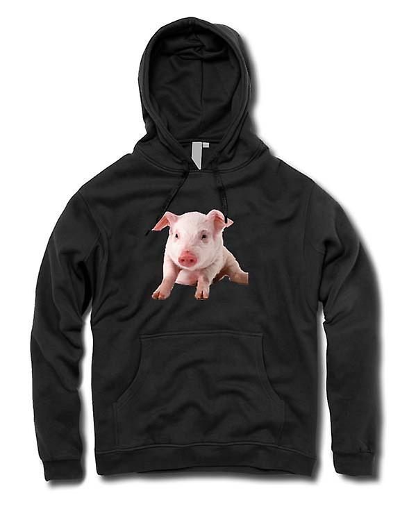 Mens Hoodie - Cute Piglet Pig Portrait