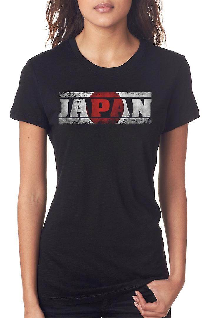 Japan Japanese Flag - Words Ladies T Shirt
