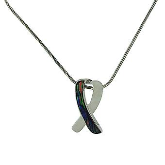 TOC Silvertone Natural Paua Shell Crossed Ribbon Pendant Necklace 18