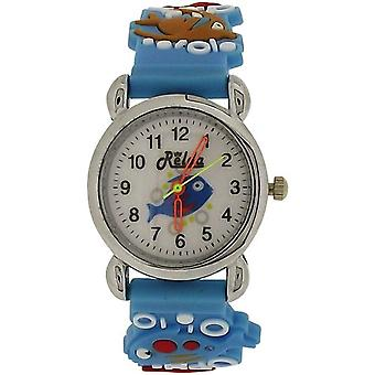 Relda Analogue Girl's - Boy's 3D Fish In Water Blue Silicone Strap Watch REL86