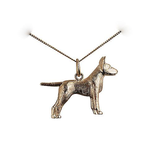 9ct Gold 19x25mm Staffordshire Bull terrier Pendant with a curb Chain 16 inches Only Suitable for Children