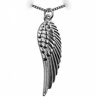 Silver 39x12mm Angel's Wing Pendant with a curb Chain 24 inches