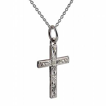 Silver 20x12mm hand engraved solid block Cross with a rolo Chain 20 inches