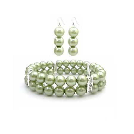 Bridal Wedding Green Pearls Bracelet Earring Gift Inexpensive Jewelry
