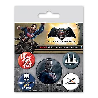 Batman vs Superman botón set Superman multi color, imprime 2,5 cm 3.8 cm, hoja, 1 x 4 de Ø x Ø.