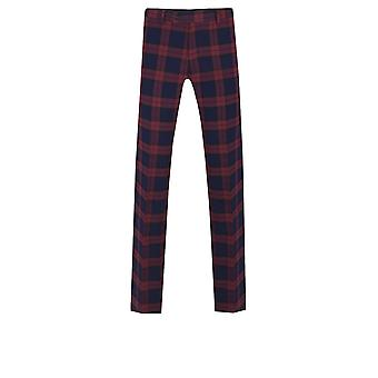 Dobell Mens Burgundy Suit Trousers Slim Fit Tartan