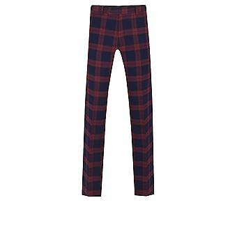 Bordowy Dobell męskie Spodnie garniturowe Slim Fit Tartan