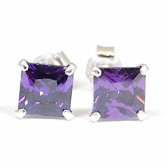 The Olivia Collection Sterling Silver Purple Princess Cut Stud Earrings