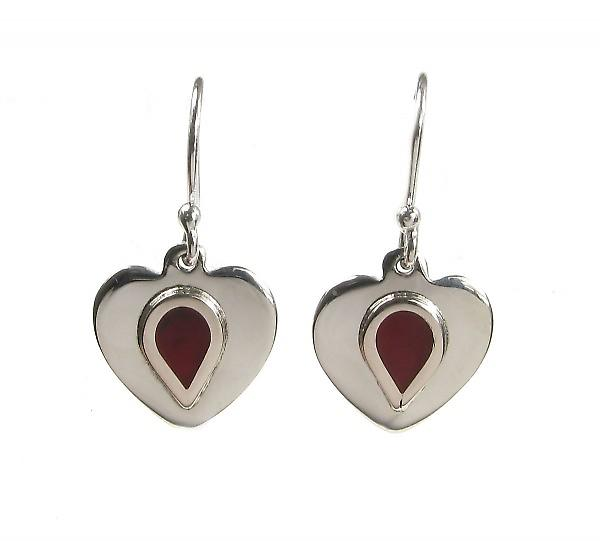 Cavendish French Sterling Silver Formed Red Jasper Centre Heart Earrings