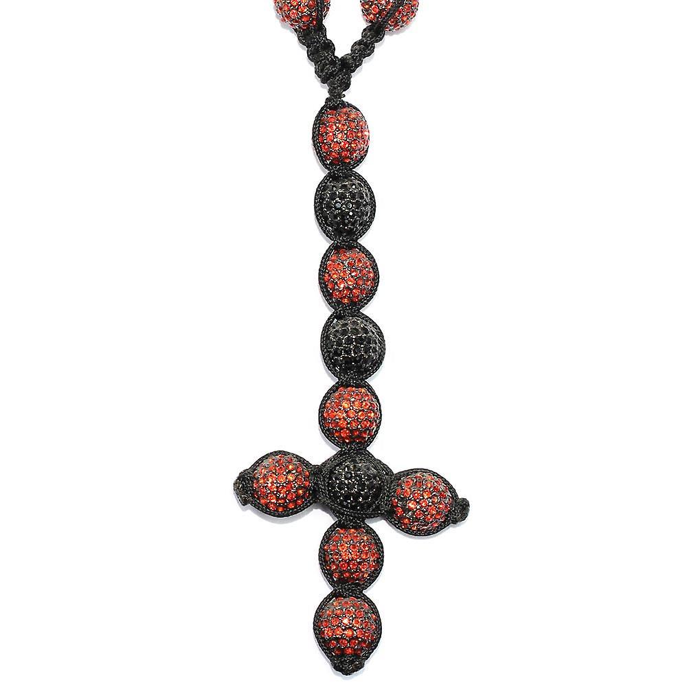 Shamballa stil bana Crystal Disco Ball Rosenkransen kedja röd svart