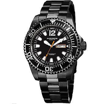 Akribos XXIV AK947BK Diver style jour date bracelet en acier inoxydable montre