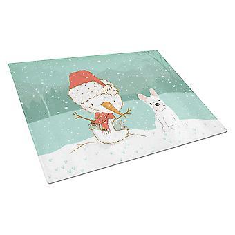 White French Bulldog Snowman Christmas Glass Cutting Board Large