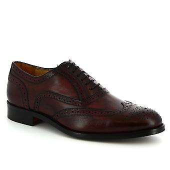 Leonardo Shoes Men's handmade lace-ups brogues shoes in burgundy calf leather