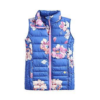 Joules Junior Croft print piger Packaway Gilet-Mid Blue Floral