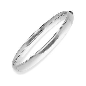 Jewelco London 9ct White Gold - Oval with Polished Domed Band Ladies Bangle Bracelet