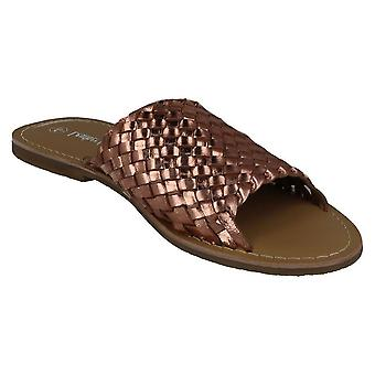 Leather Collection Womens/Ladies Flat Weave Vamp Mules