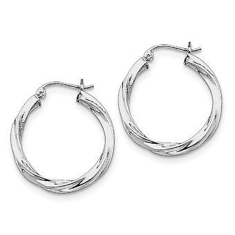 925 Sterling Silber poliert Hohlrohr Aufklappe Pfosten 3,00mm verdreht Ecreten Ohrringe - 2,3 Gramm